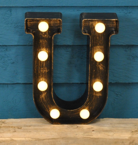 Letter U- Battery Operated Lumiere